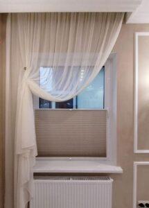 бежевые шторы Плиссе фото 2